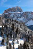 Sass Pordoi (in the Sella Group) with snow in the Italian Dolomites Royalty Free Stock Image
