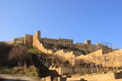 Sassanid堡垒纳伦Kala墙壁在Derbent市,达吉斯坦共和国 库存图片