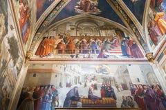 Sassetti kapell i basilikan av Santa Trinita i Florence intelligens Arkivbilder