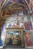 Sassetti kapell i basilikan av Santa Trinita i Florence intelligens Arkivbild