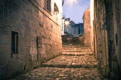 Sassi,城市马泰拉的历史的中心在意大利 免版税库存照片