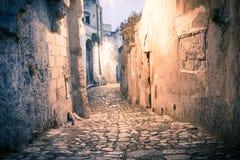 Sassi,城市马泰拉的历史的中心在意大利 免版税库存图片