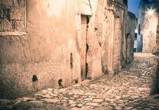 Sassi,城市马泰拉的历史的中心在意大利 库存照片