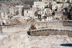 Sassi di Matera cityscape. Cityscape detail of Sassi di Matera, toward sasso Barisano, during a summer sunny day Royalty Free Stock Images