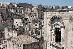 Sassi di Matera cityscape. Cityscape detail of Sassi di Matera, toward sasso Barisano, during a summer sunny day Royalty Free Stock Photography