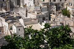 Sassi di Matera cityscape. Sityscape view of Sassi di Matera, toward sasso Barisano, during a summer sunny day Royalty Free Stock Photos