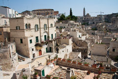 Sassi di Matera cityscape. Cityscape view of Sassi di Matera, toward sasso Barisano, during a summer sunny day Royalty Free Stock Photos