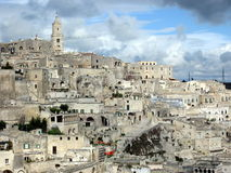 Sassi di Matera, het zuiden van Italië Royalty-vrije Stock Afbeeldingen