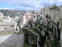 Sassi di Matera, het zuiden van Italië Stock Foto's