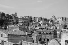 Sassi di Matera, opinião da paisagem na cidade antiga italiana da caverna Fotografia de Stock Royalty Free