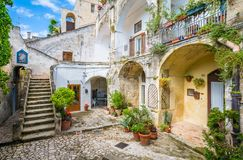 Scenic sight in Matera in the `Sassi` district, Basilicata, southern Italy. stock photo
