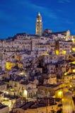 Sassi of Matera-1. Sassi houses of Matera  at night, Basilicata, Italy Stock Images