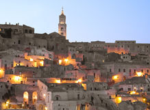 Sassi of Matera at dusk. Stock Photo