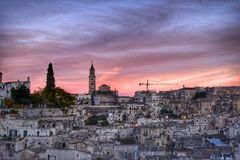 The Sassi of Matera, Italy. The Sassi of Matera. It was a troglodyte township in southern Italy. It is a UNESCO World Heritage site and going to be one of royalty free stock images