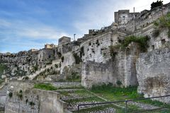 The Sassi of Matera, Italy. The Sassi of Matera. It was a troglodyte township in southern Italy. It is a UNESCO World Heritage site and going to be one of stock image