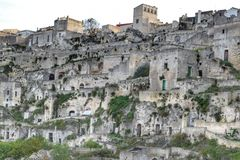 The Sassi of Matera, Italy. The Sassi of Matera. It was a troglodyte township in southern Italy. It is a UNESCO World Heritage site and going to be one of royalty free stock image