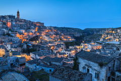 Sassi of Matera at night. Royalty Free Stock Image