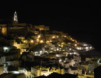 Sassi of Matera by night. Basilicata. Royalty Free Stock Photos