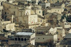 Sassi of Matera with snow Royalty Free Stock Photos