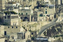 Sassi of Matera with snow Stock Photography