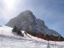 Sasslong. Mountain Sasslong( ''long mountain'')in val Gardena- known for Ski downhill Stock Photo