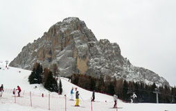 Sasslong in the snowing. Famous mountain and ski run -Sasslong in the snowing Stock Images