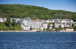 Sassnitz, old part of town. Panoramic view of the old part of Sassnitz with the forest of the national-park Jasmund in the background Stock Image