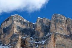 Sasso della Croce i vintersäsongDolomites, Val Badia, Trentino - Alto Adige, Italien Arkivbild