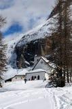 Sasso della Croce - Ospizio Santa Croce - Chiesa Santa Croce under Sasso della Croce Group in the Italian Dolomites, Trentino, Ita Royalty Free Stock Photos