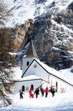 Sasso della Croce - Ospizio Santa Croce - Chiesa Santa Croce under Sasso della Croce Group in the Italian Dolomites, Trentino, Ita Royalty Free Stock Photography