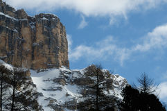 Sasso della Croce in Winter season Dolomites, Val Badia, Trentino - Alto Adige, Italy Royalty Free Stock Photo