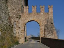 Sasso Gate in Castell`Arquato. Sasso Gate was built to allow the entrance in the old town in medieval ages royalty free stock photos