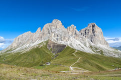 Sasso Lungo e Sasso Piatto. The Sasso Lungo/Piatto massif is the natural divide between the Fassa and Gardena valleys. Arguably the better site, Val di Fassa Royalty Free Stock Photo