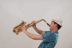 Sassofonista Fotografia Stock Libera da Diritti