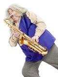Sassofonista anziano di hippy Fotografie Stock Libere da Diritti