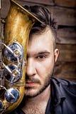 Sassofonista del giocatore di sassofono con il sax Immagine Stock Libera da Diritti