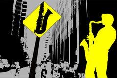 Sassofonista della via Fotografia Stock