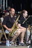 Sassofono dell'orchestra di jazz del tempiale Fotografie Stock Libere da Diritti