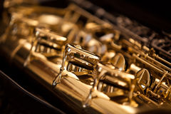 Sassofono delle valvole del frammento Fotografia Stock
