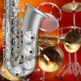 Sassofono e strumenti musicali astratti del fondo di lerciume Fotografia Stock