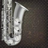 Sassofono e strumenti musicali astratti del fondo di lerciume Immagini Stock