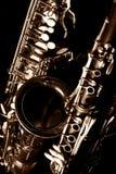 Sassofono tenore e clarinetto classici del sax di musica nel nero fotografia stock libera da diritti
