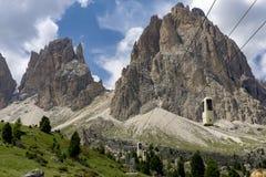 Sassolungo美妙的夏天视图  白云岩 意大利 库存图片