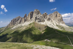 Sassolungo美妙的夏天视图  白云岩 意大利 免版税库存图片
