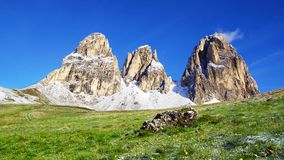 Sassolungo 3181m。 意大利 免版税库存图片