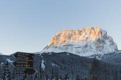 Sassolungo from Gardena mountain pass in the Dolomites Stock Photo
