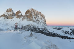 Sassolungo from Gardena mountain pass in the Dolomites Royalty Free Stock Photos