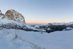 Sassolungo from Gardena mountain pass in the Dolomites Stock Image