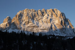 Sassolungo from Gardena mountain pass in the Dolomites Royalty Free Stock Images