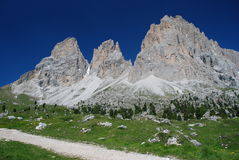 Sassolungo Group. In Dolomites from Passo Sella. Italy Royalty Free Stock Images